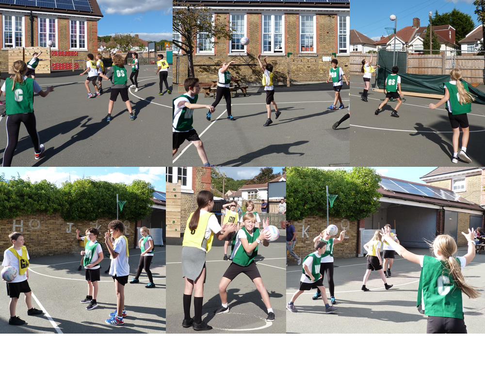 Putting netball skills into action in a game.