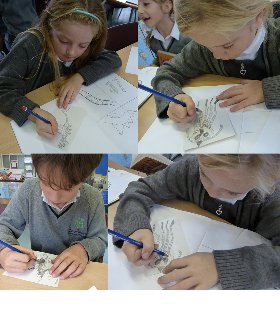 Creating sea monsters for our Take One display.