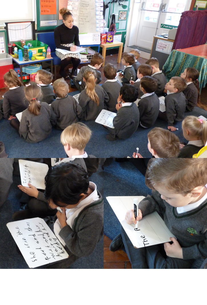 Busy writing sentences during registration.