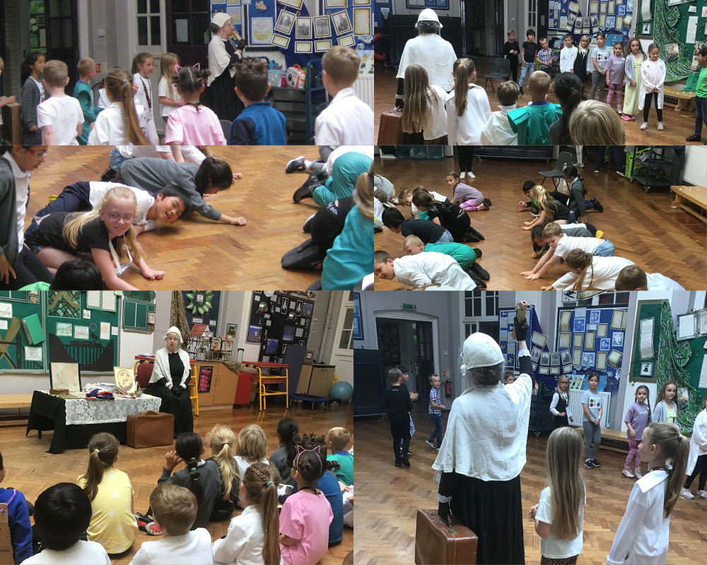 WE had a visit from Florence Nightingale and after going on a journey to the Crimea were put to work scrubbing floors!