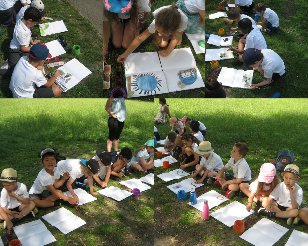 Year 2 visited the meadow by the castle to do some painting.