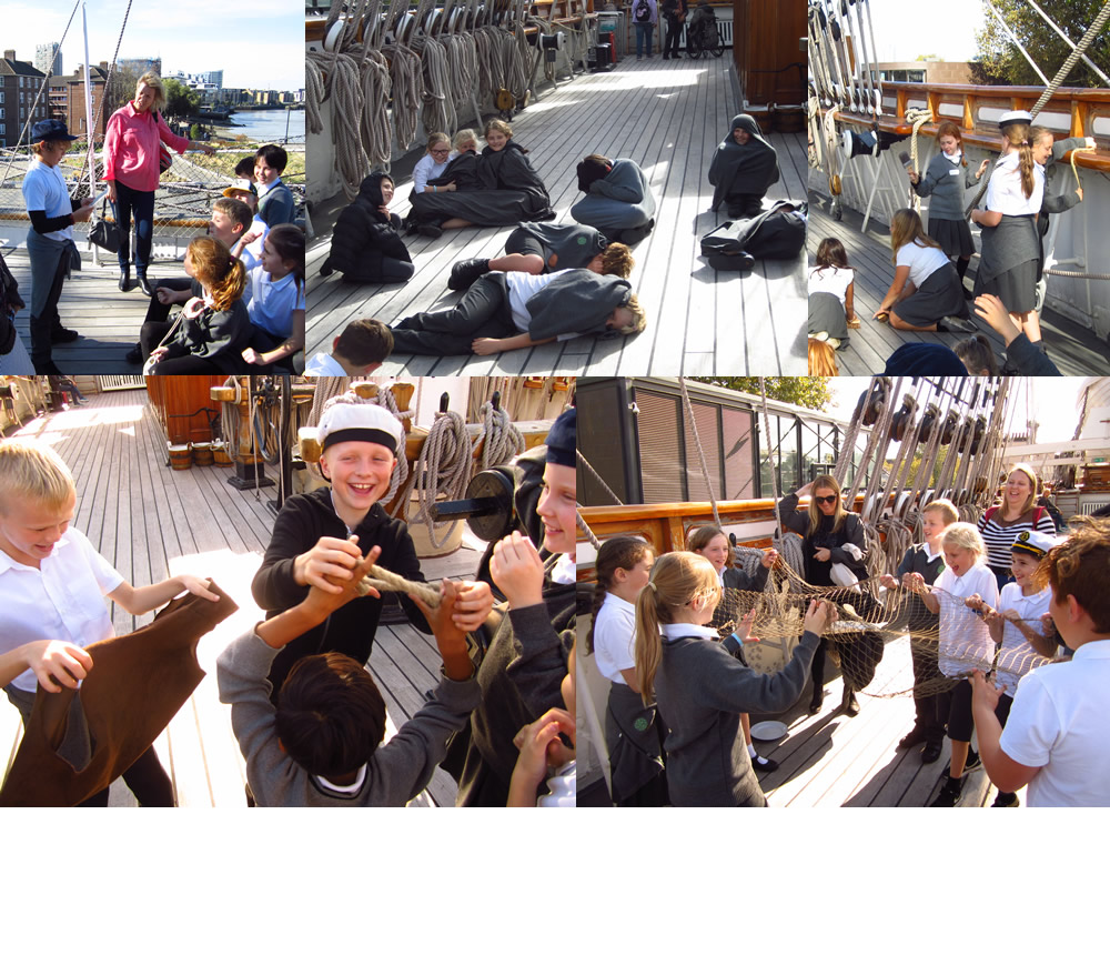 Learning about life on board ship at the Cutty Sark.