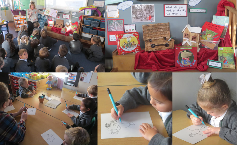 Drawing pictures of Little Red Riding Hood's grandma.