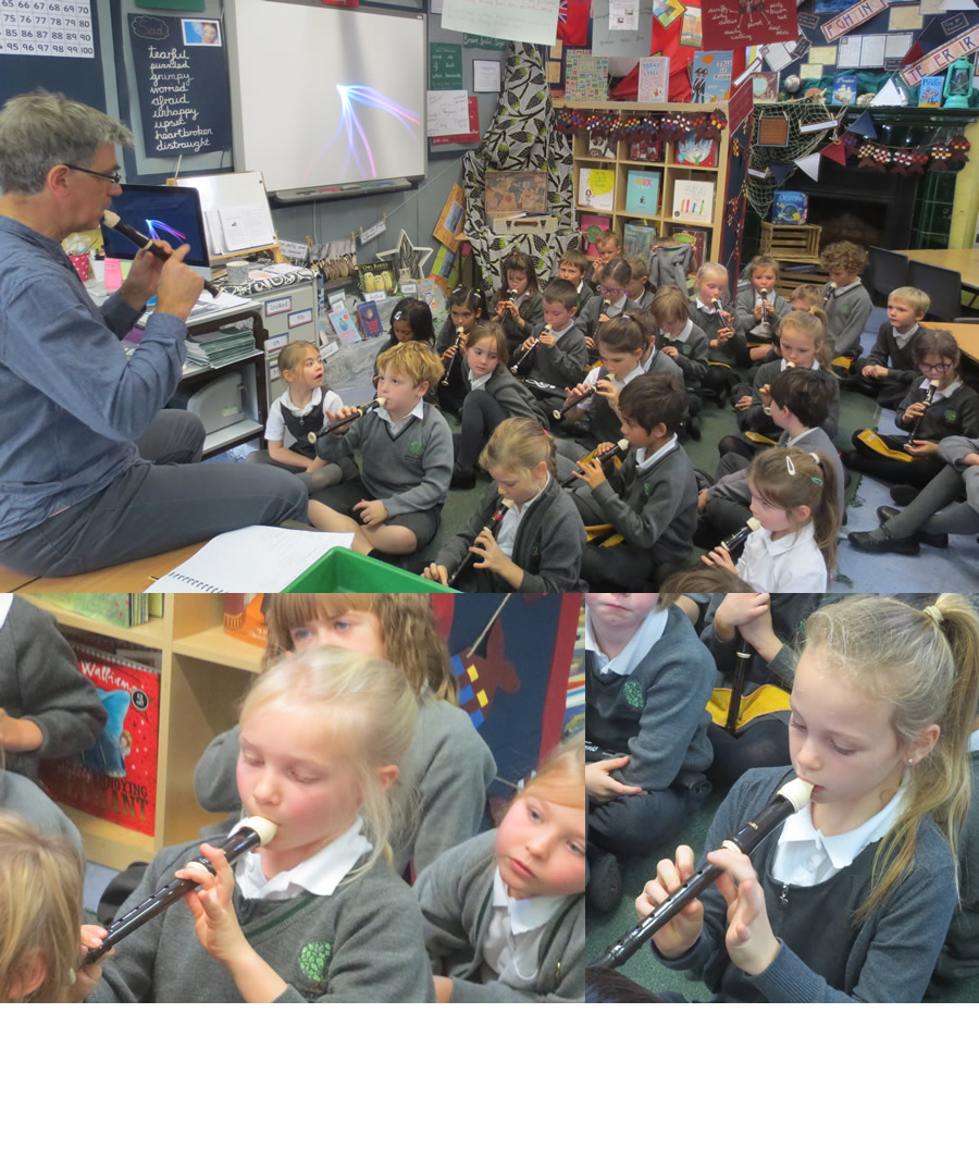 Playing Hot Cross Buns with Mr Moore.