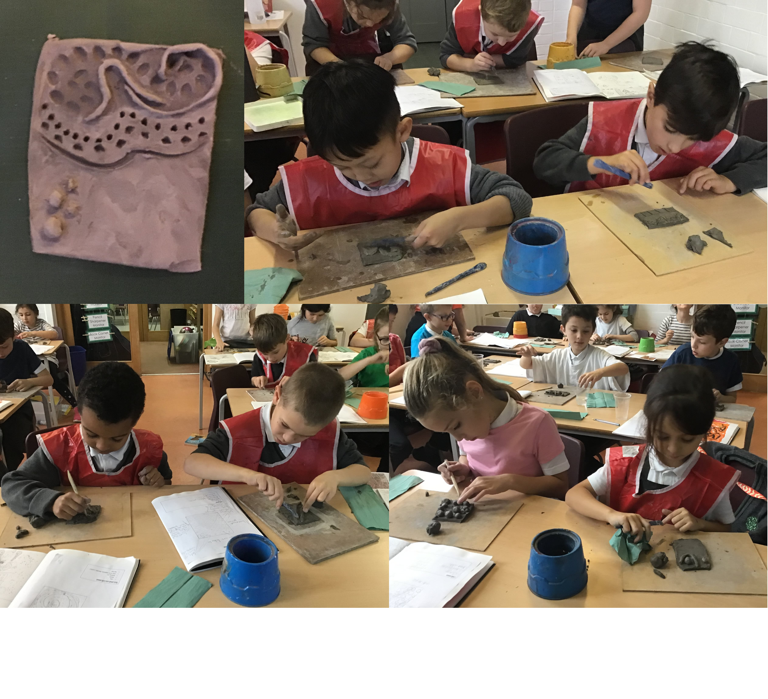 Inspired by work of an artist, we created clay tiles.