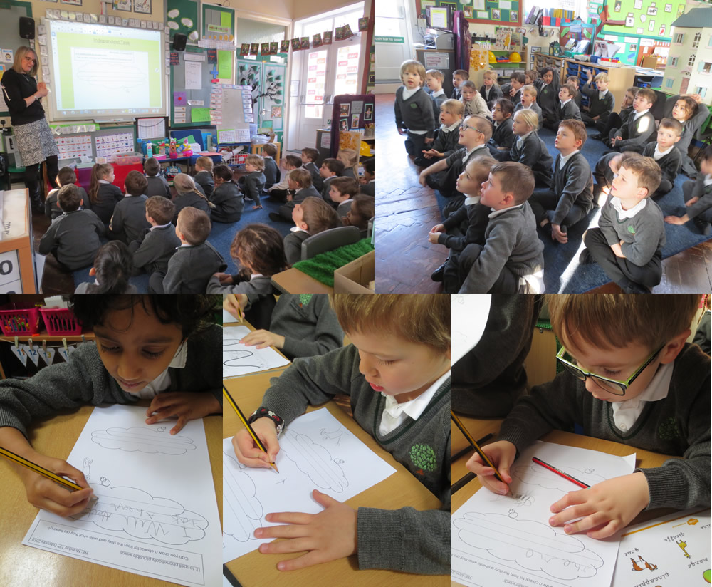 Working on thought bubbles for the animals in Handa's Surprise.