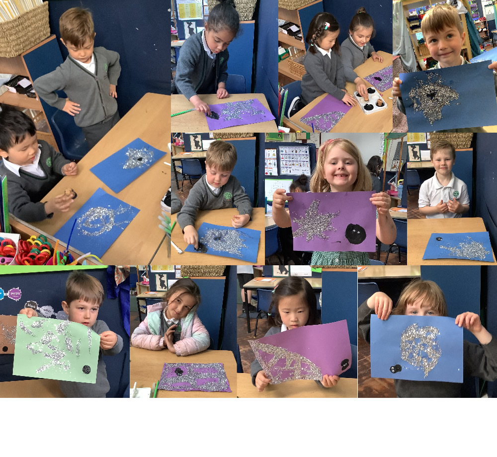 A sparkling start to the term with some spider art inspired by our first book Aargh, Spider! by Lydia Monks.