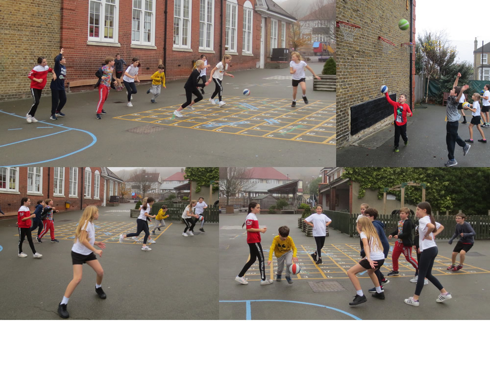Putting basketball skills into action.