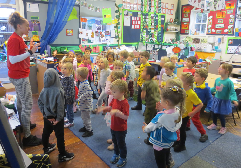 Getting our 5-a-day exercises on Children In Need Day.