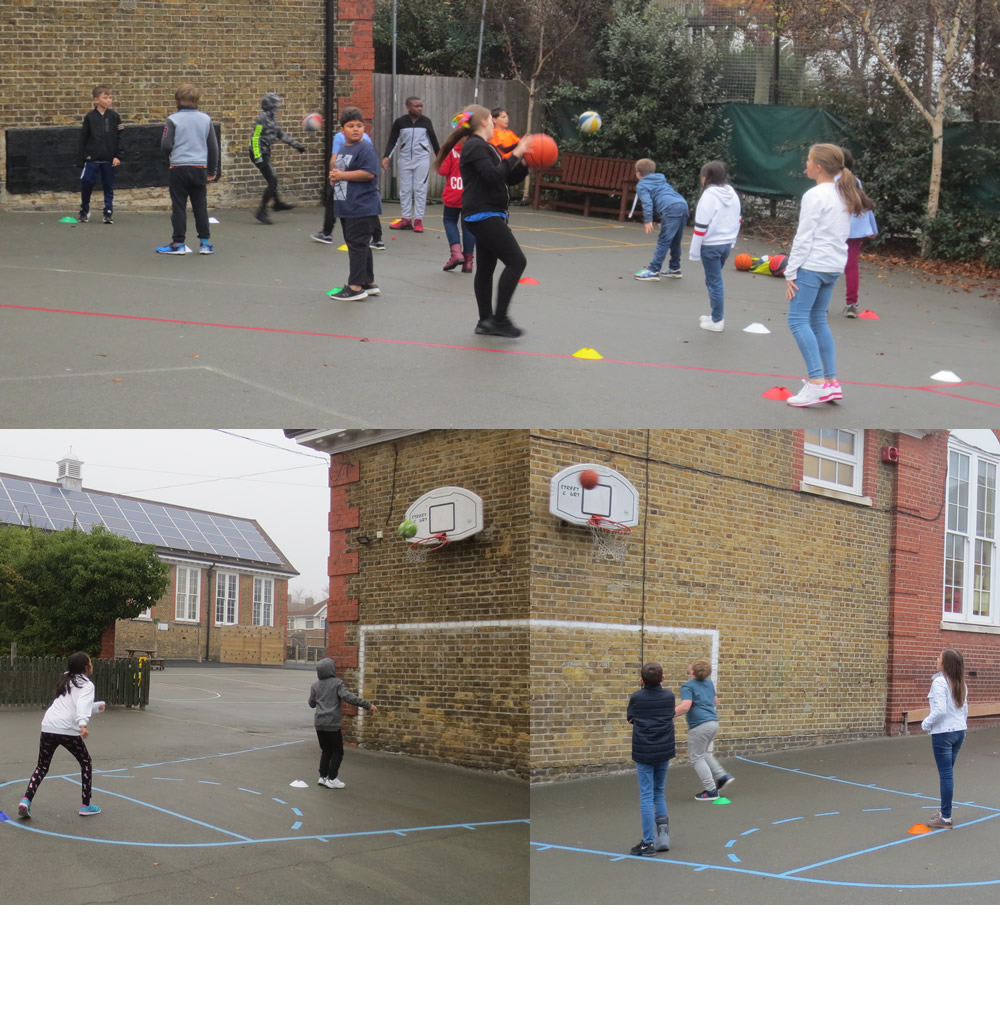 Practising our basketball shots.