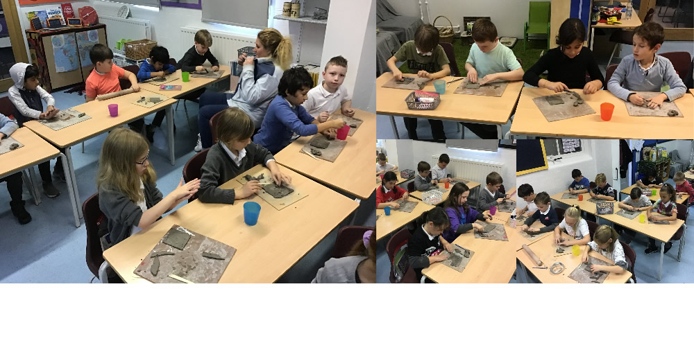 Making clay tiles.