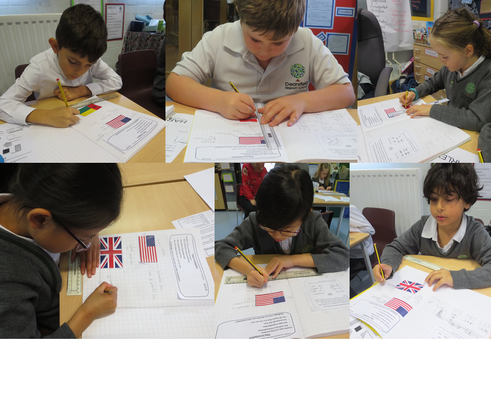 Looking at mathematical attributes of flags: vertical, horizontal, parallel and perpendicular lines.
