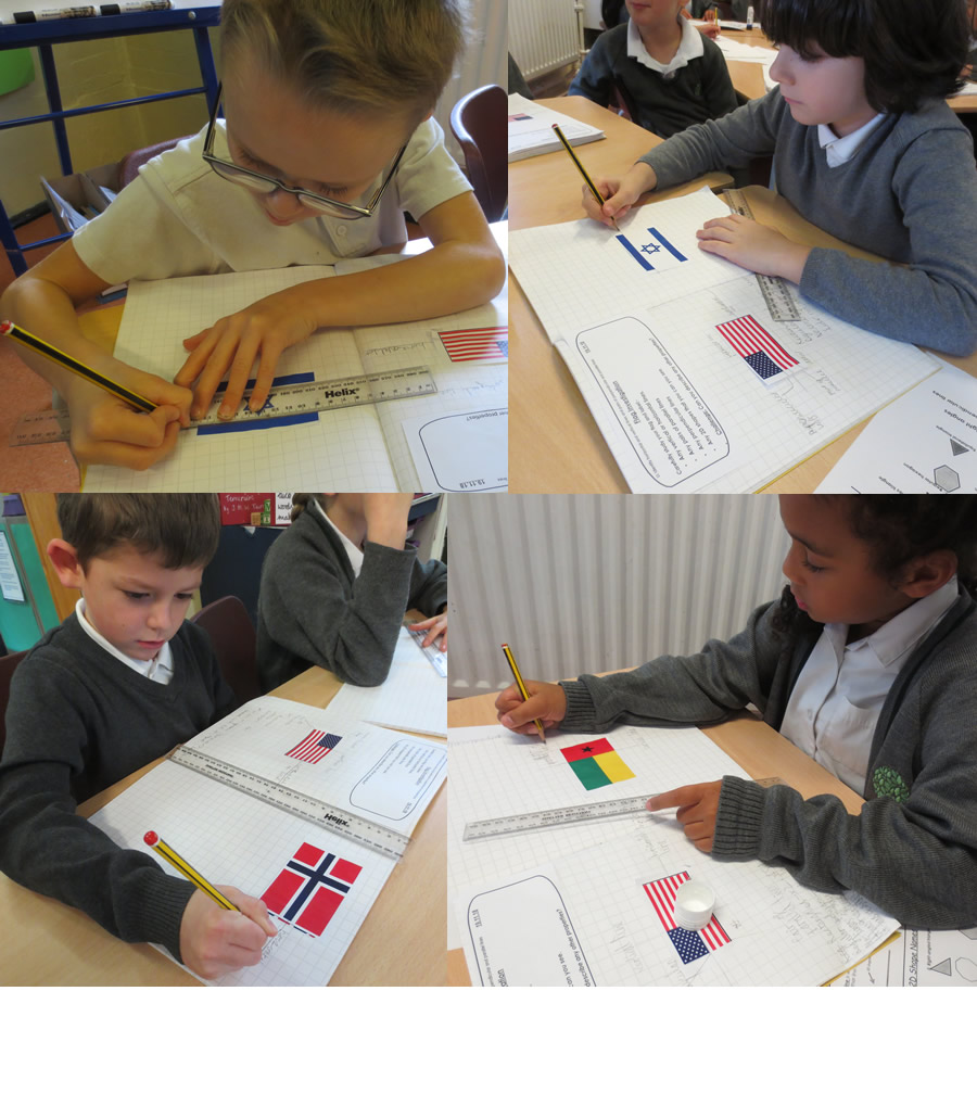 Looking at mathematical attributes of flags: vertical, horizontal, parallel and perpendicular lines and  symmetry.