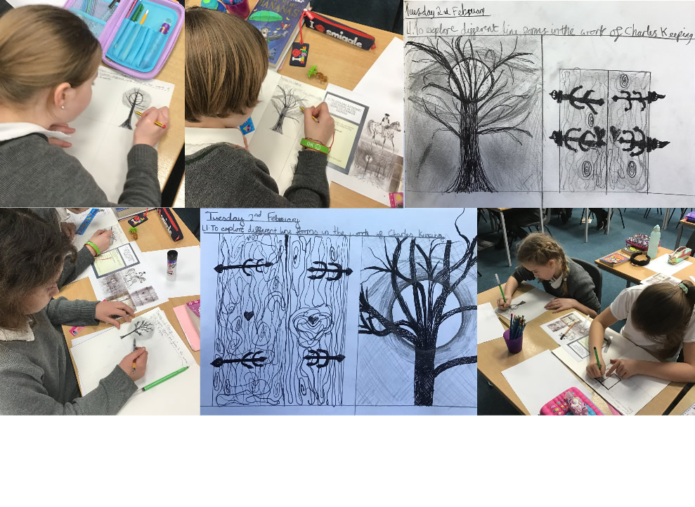 After reading The Highwayman, we explored the line forms in the drawings of the illustrator Charles Keeping.