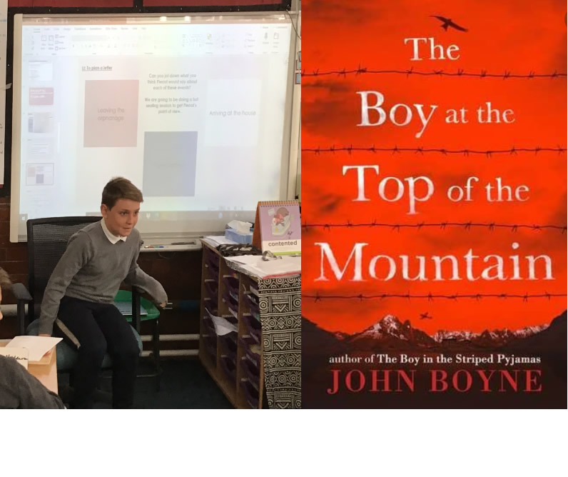 A hot seat session to gather ideas for a letter from Pierrot, inspired by The boy at the top of the mountain by John Boyne.