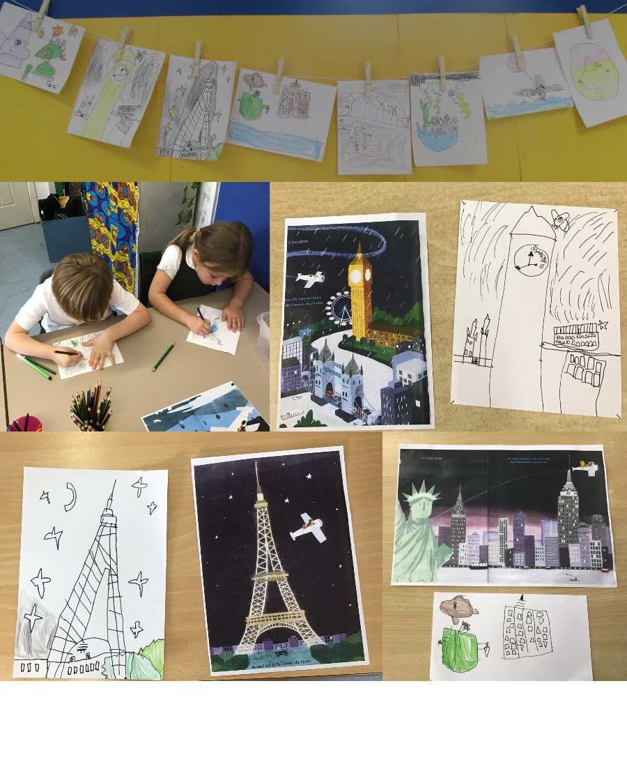 Sequencing scenes from our focus book, Emma Jane's Aeroplane. Come back another time to see our finished literacy display.
