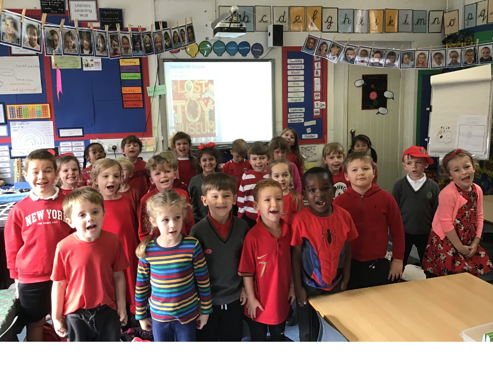 We dressed for wear Red Day to 'Show Racism the Red card'!