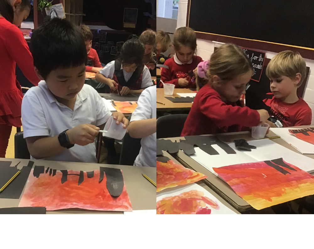 Adding black building silhouettes to our Great Fire of London pictures.