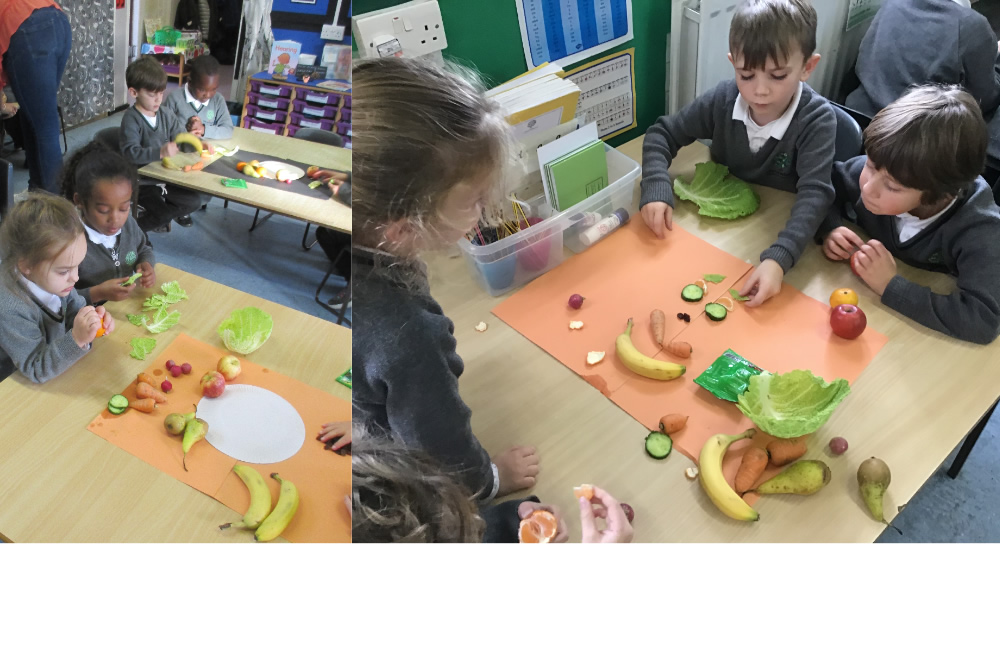 We looked at pictures by the artist Giuseppe Arcimboldo then made some pictures with fruit as he did.