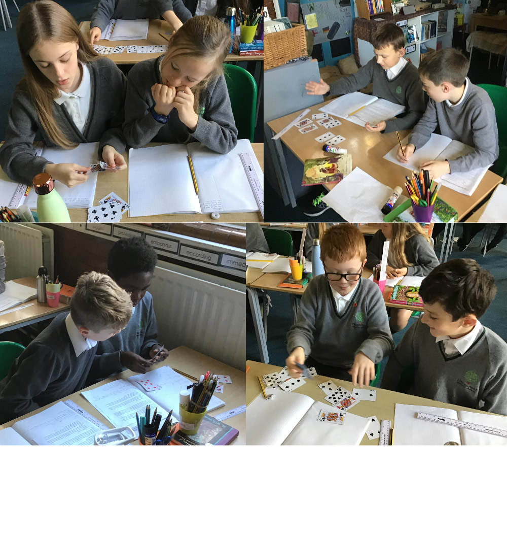 Our maths investigation started with some playing cards.