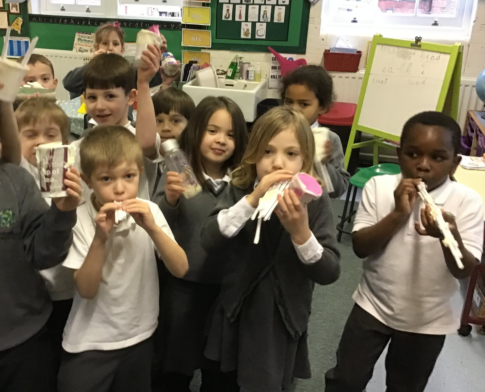 We made musical instruments from junk and then got 'into the beat'!
