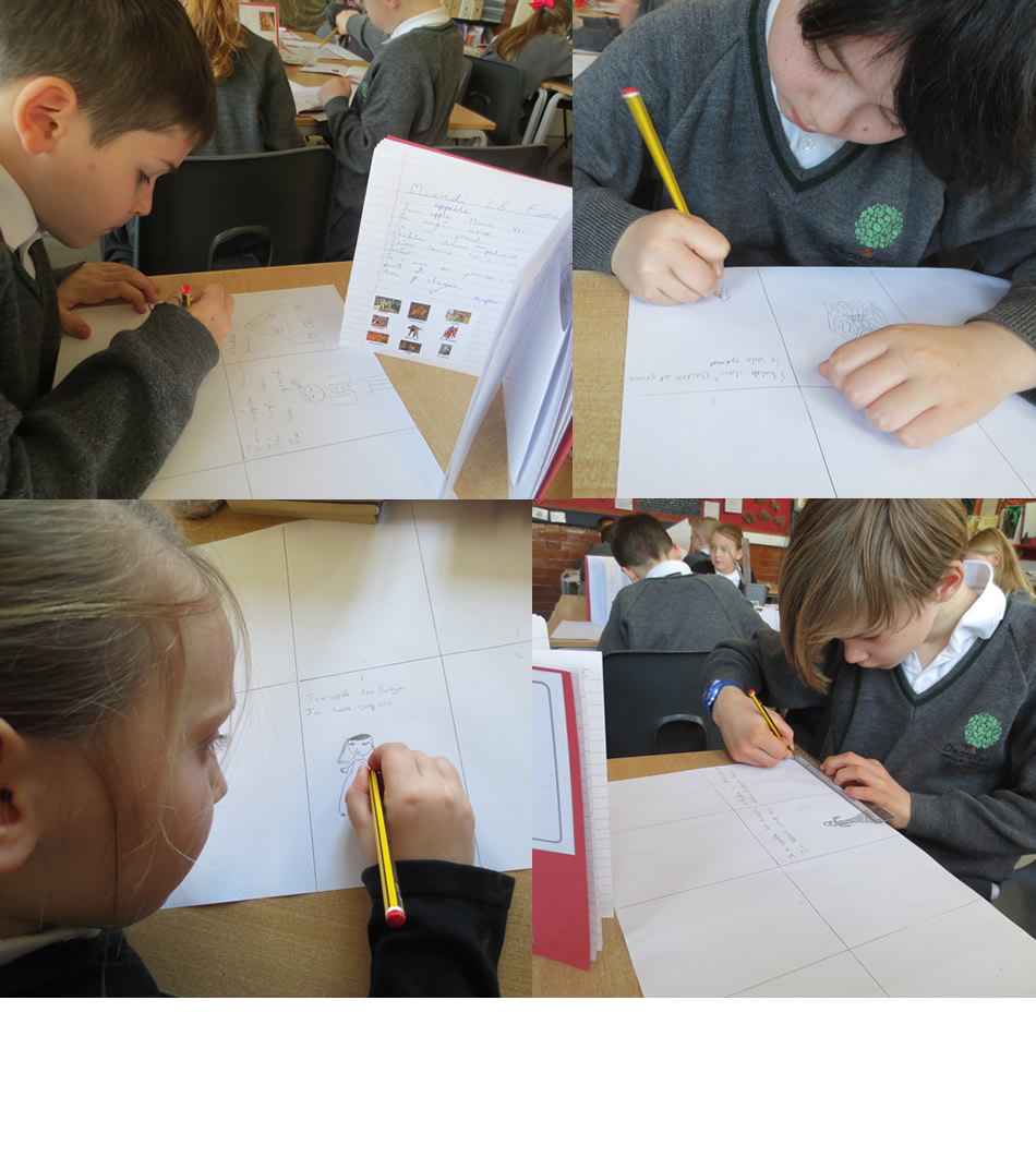 Making mini-booklets about Henry VIII and Anne Boleyn in French.