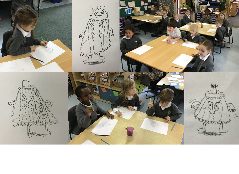 We enjoyed learning to draw with Tom Knight on the Book Week workshop. Look at some of our 'When jelly had a wobble' pictures!