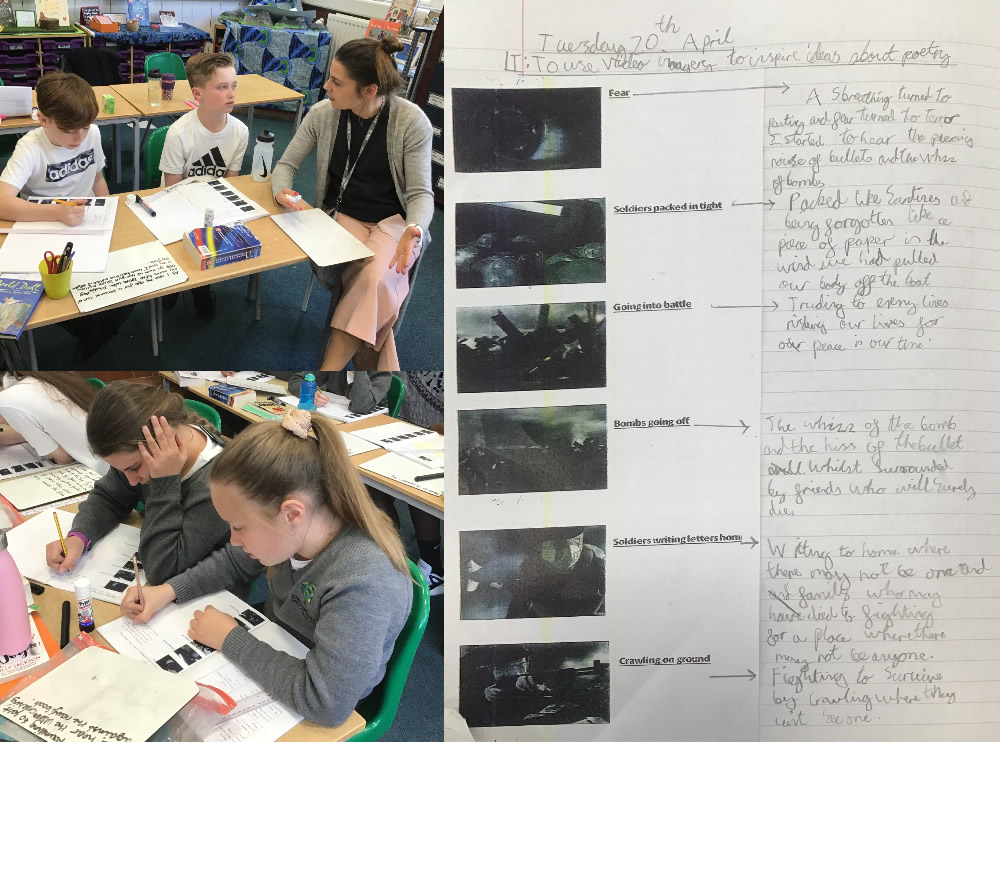 Using video images to inspire poetry writing.