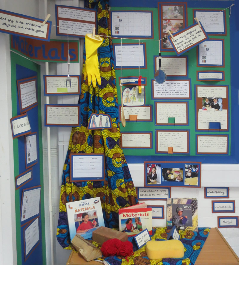 Our display of the work we did on properties of materials.