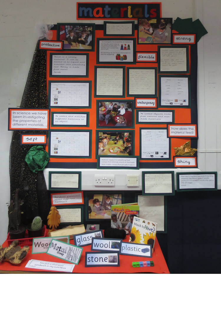 Our display shows the work we did on the properties of materials.