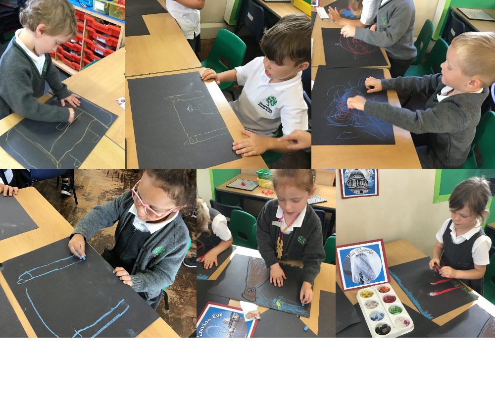 We experimented with pastels then drew some London landmarks.