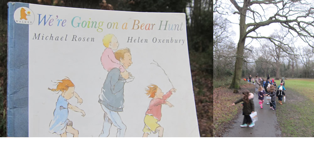 It's Forest School and we're going on a bear hunt.