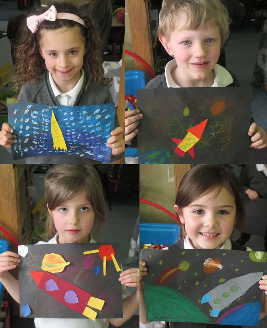 We explored the work of an American artist called Peter Thorpe and created our own pictures in his style.