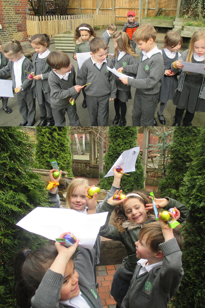 Following the clues on our Easter Egg hunt.