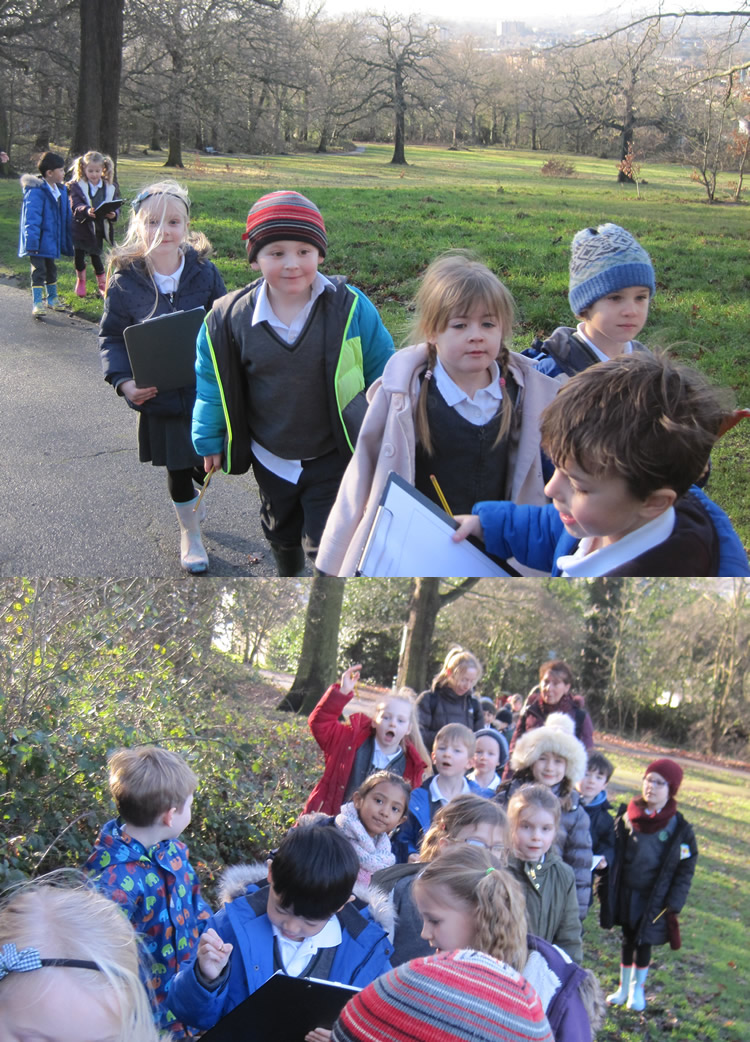 We took our clipboards to the woods to draw maps of our route.