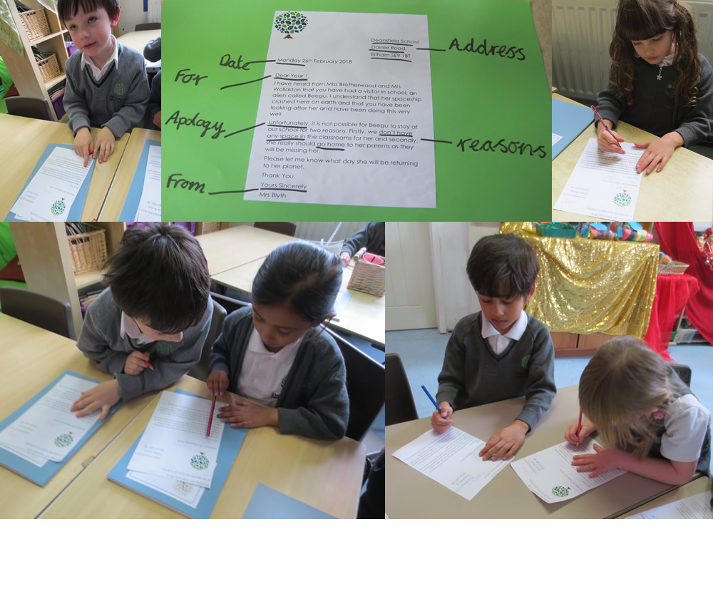 Identifying the features of a letter.
