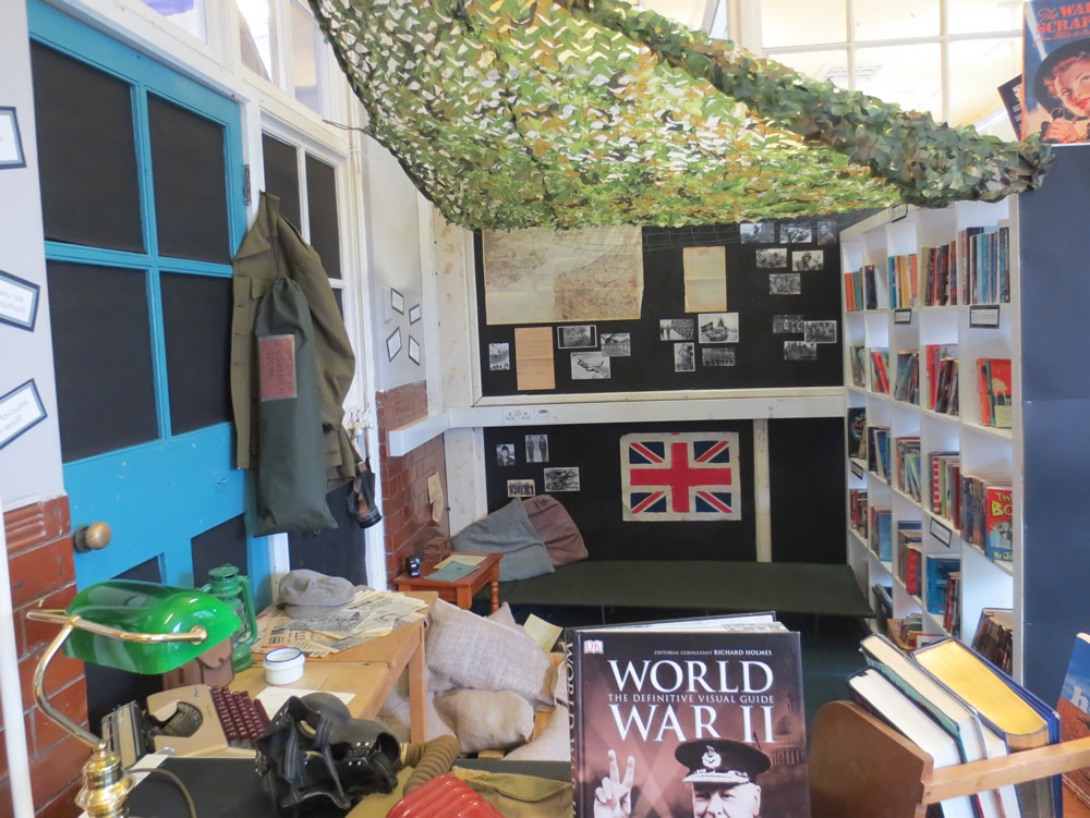 Our book corner has a World War  Two theme.