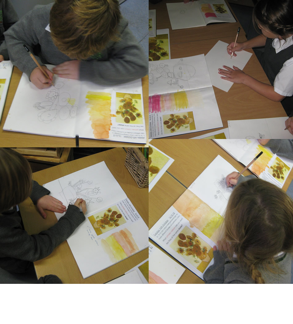 Creating our own Vincent van Gogh sunflowers.