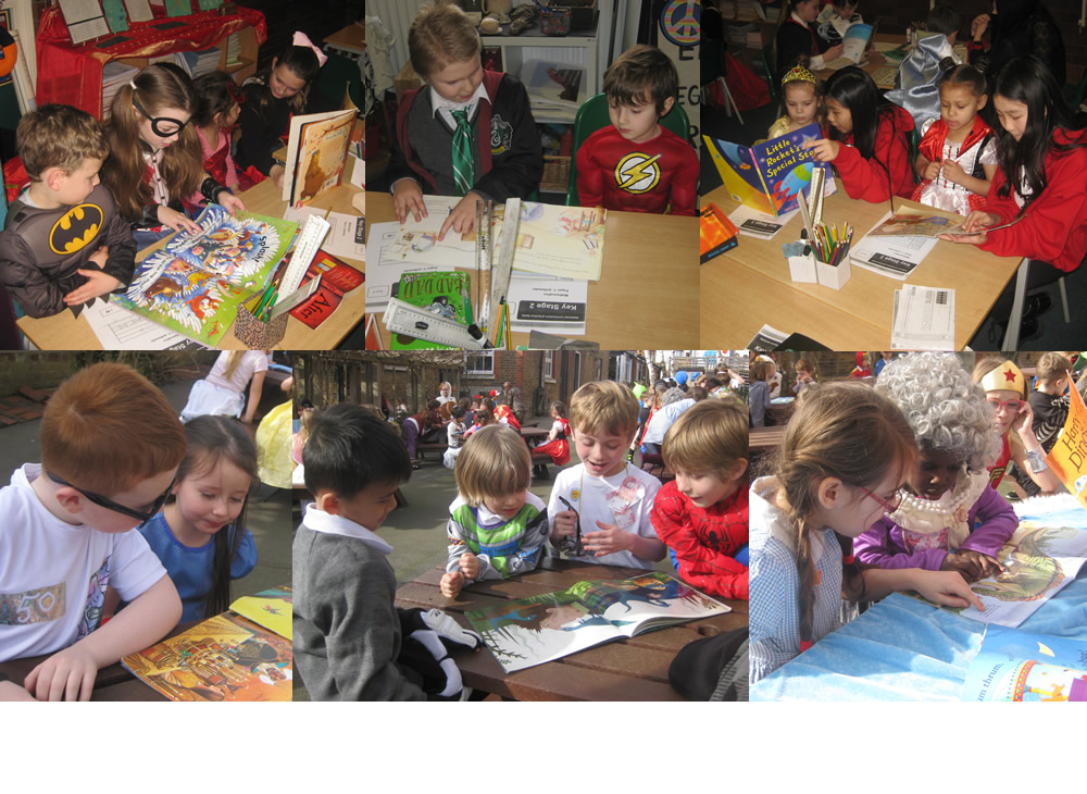 Sharing books with Year 6 on Book Day.