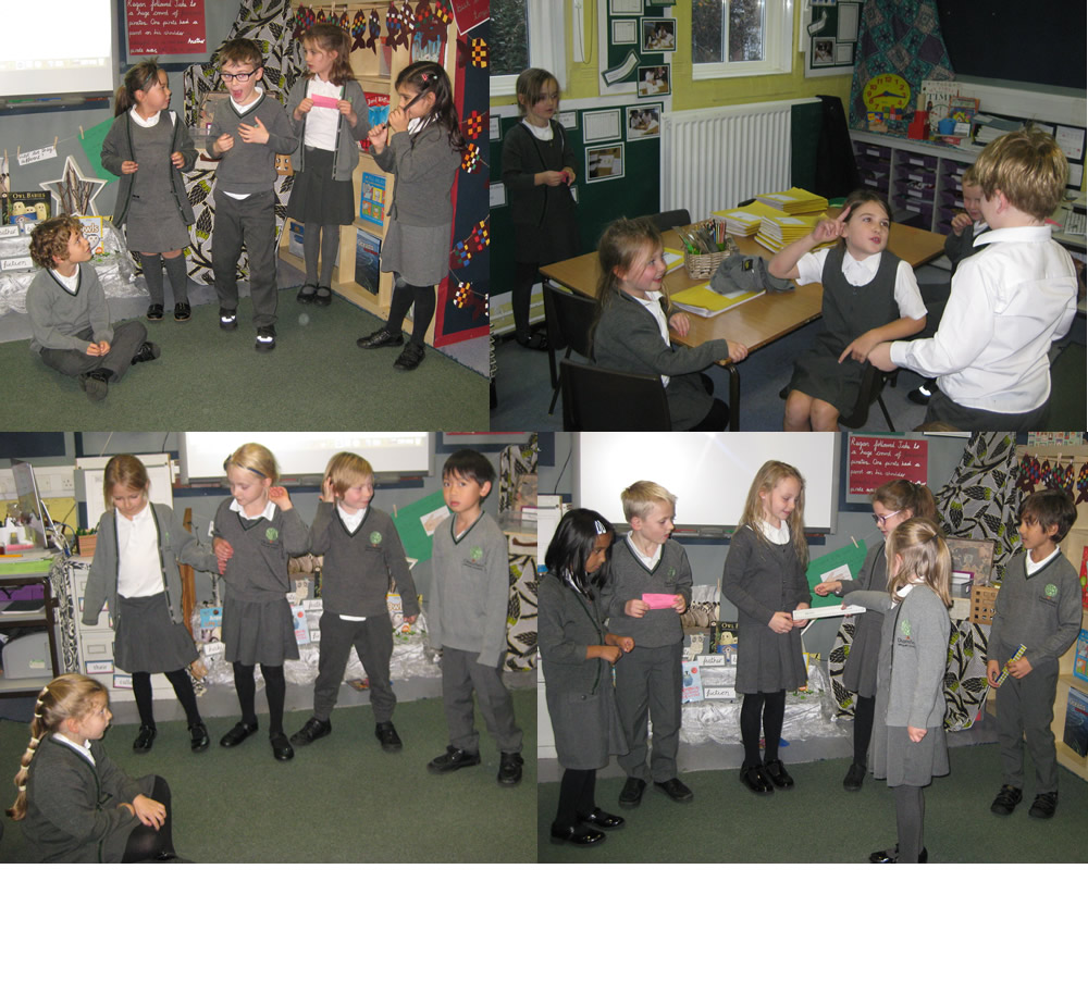 Acting out ways to show kindness.