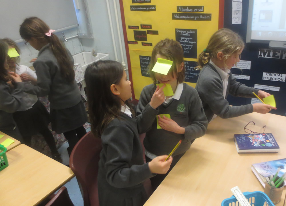 We had fun labelling our bones using post-it notes.