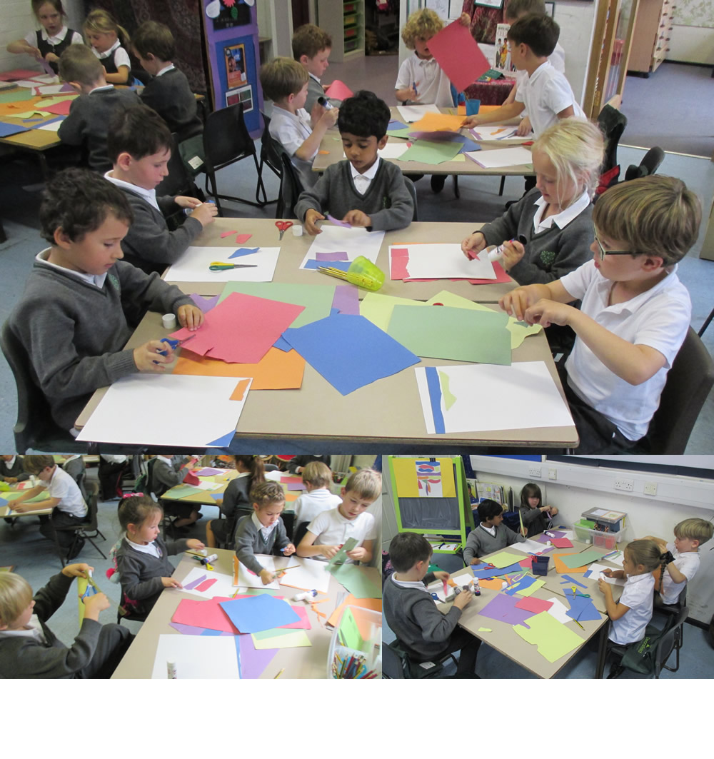 Using paper cut outs to make pictures in the style of Matisse.
