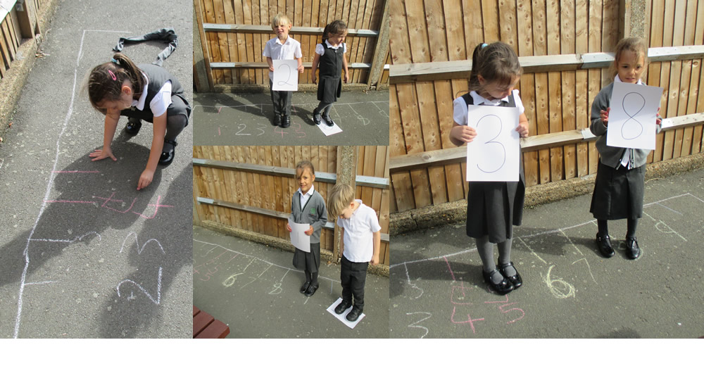 We drew our own number lines for maths in the playground.