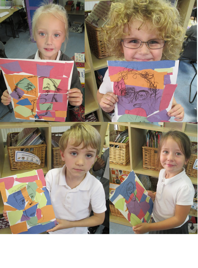 We drew self portraits on our Matisse backgrounds.