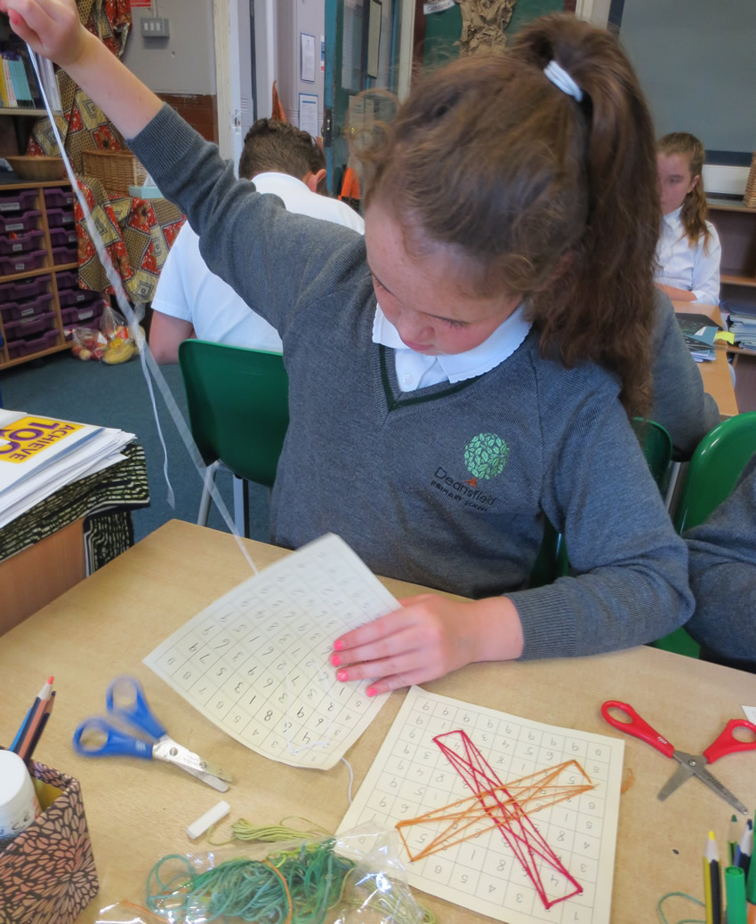 Sewing based on the Vedic squares we learned about in maths.