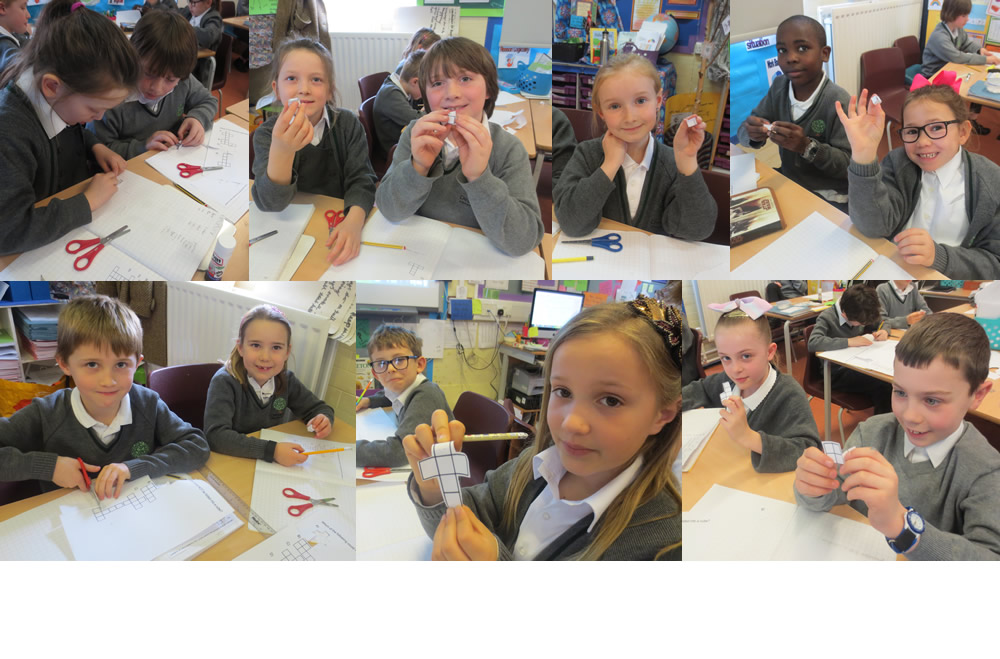 Using nets to make 3D shapes.