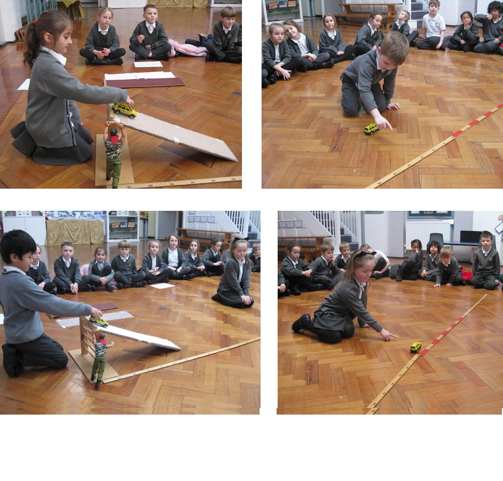 We tested how far a car travelled after going down slopes with different surface materials.