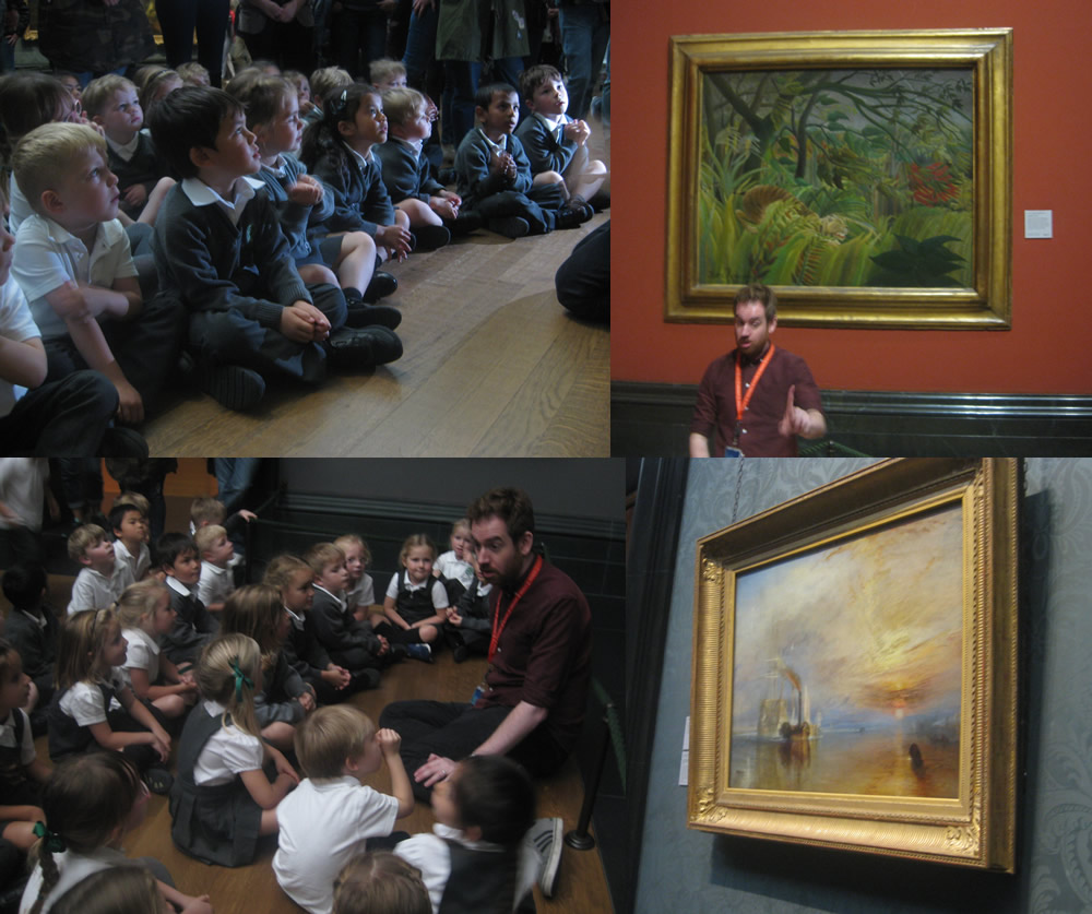 Looking at paintings at The National Gallery.