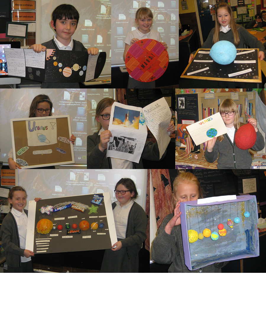 We were busy in half term creating our space projects,