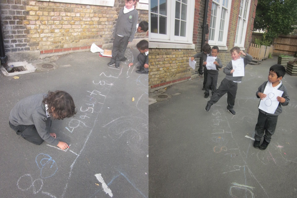We drew chalk number lines and used them for our maths work.